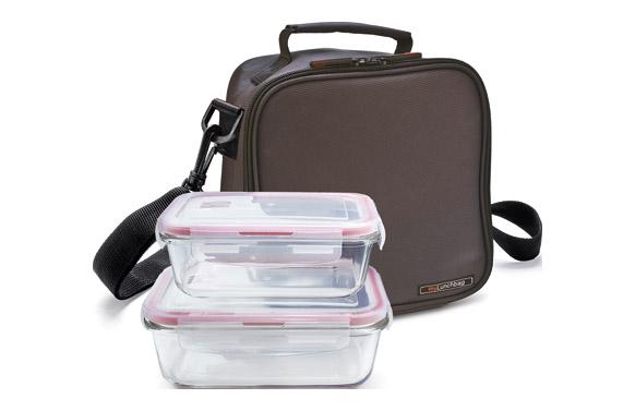 Bolsa porta alimentos basic gris +contenedores vidrio