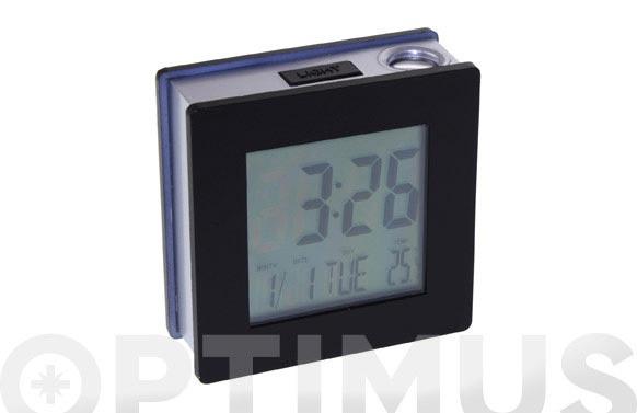 Despertador proyector negro 7x7x2,5 cm