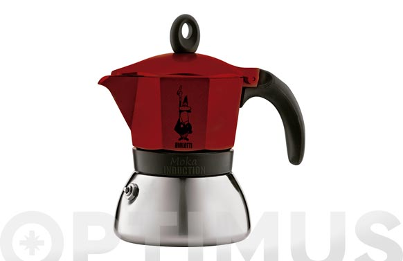 Cafetera moka induction alum/inox 3 tazas roja