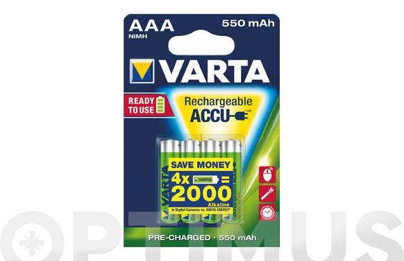 Pila recargable ready to use (4u) aaa-550mh