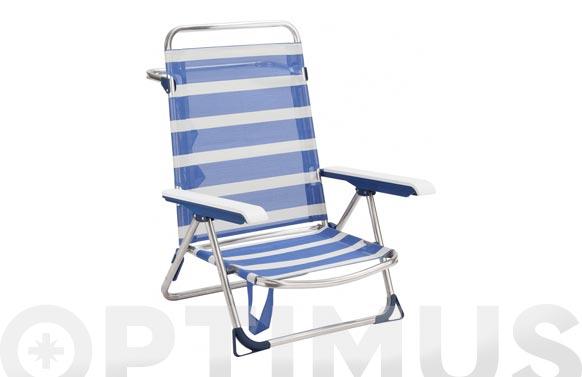 Silla cama playa fibreline rayas azul/blanco bicomponente