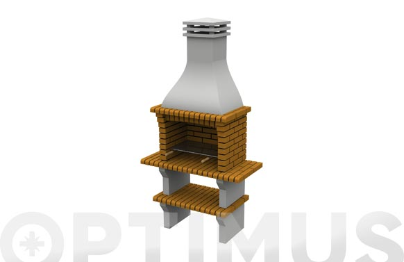 Barbacoa ladrillo mediana 'granada' con minibancad h 240 x 124 x 58 cm