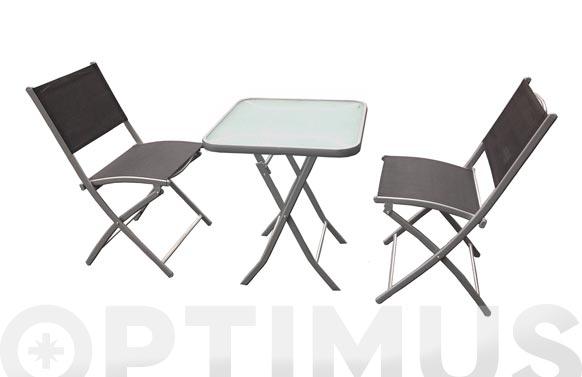Mesa 60x60cm+2 sillas plegables negro