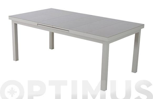 Mesa aluminio cristal extensible taupe 186-246 x 100 cm