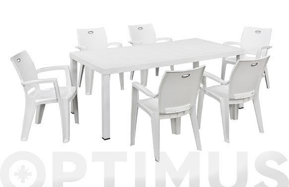 Mesa resina aluminio brio blanco 180 x 95 cm