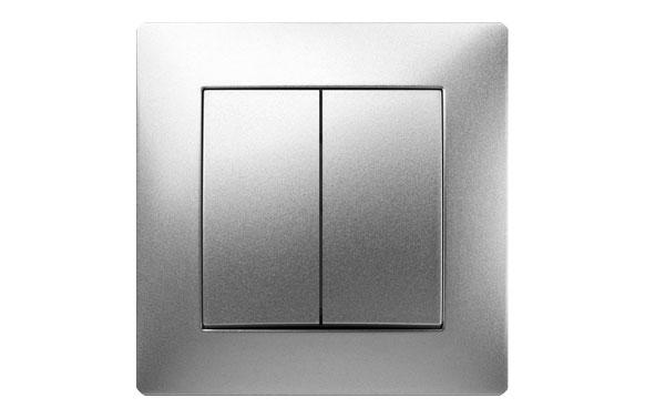 Doble conmutador 10a habitat15 aluminio