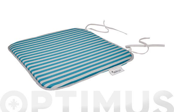 Cojin asiento algodon/poliester (set 2u) rayas esmeralda/gris