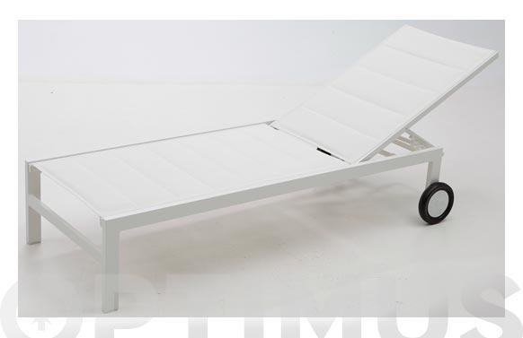 Tumbona aluminio textilene acolchado snapy blanco