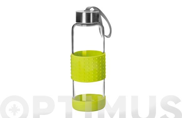 Botella vidrio+silicona 0,36l-verde