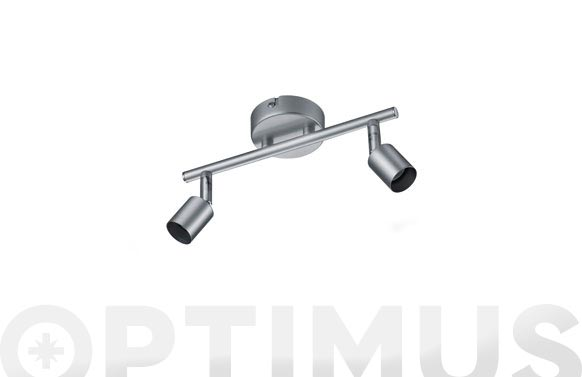 Regleta 2 focos gu10 paris sin bombilla gris aluminio