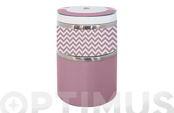 Termo solidos lunchbox doble rosa inox 0,9 l
