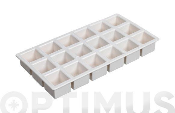 Bandeja cubitos cuadrados blanco 21 x 11 cm
