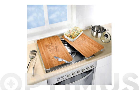 Tabla vidrio cocina 2 uds bambu 30 x 52 cm