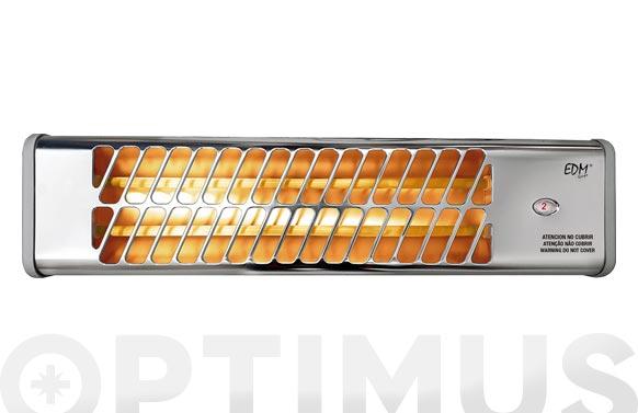 Estufa cuarzo baño 2 barras rejilla aluminio 600/1200 w