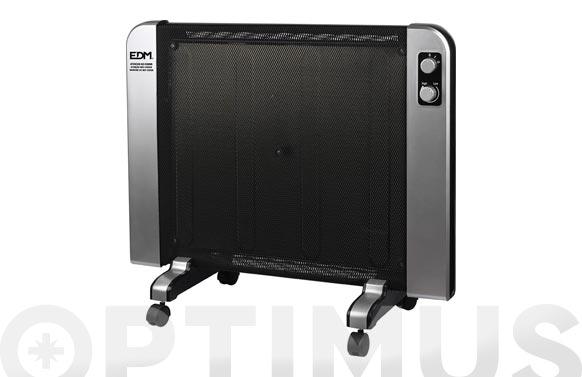 Radiador panel mica negro y plata 2000 w