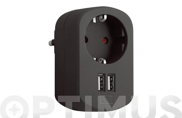 Adaptador con doble usb 3.15a negro