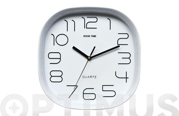 Reloj cuadrado retro blanco