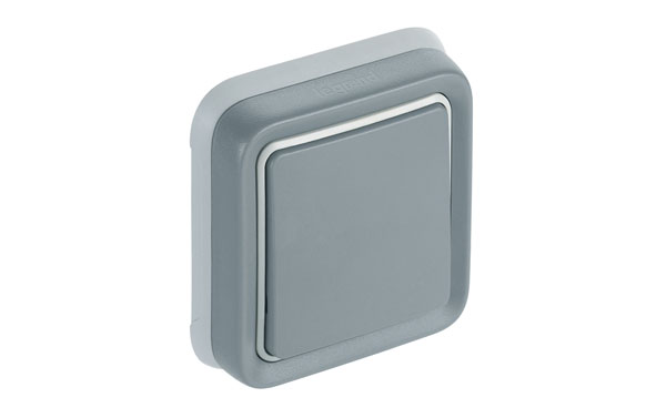 Conmutador empotrar gris ip55 plexo