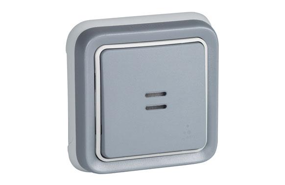 Pulsador empotrar gris ip55 plexo
