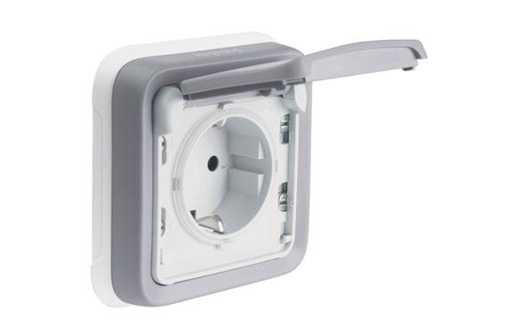 Base schuko empotrar gris ip55 plexo