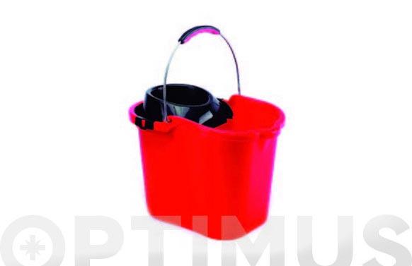Cubo con escurridor y asa metalica rojo 16 l
