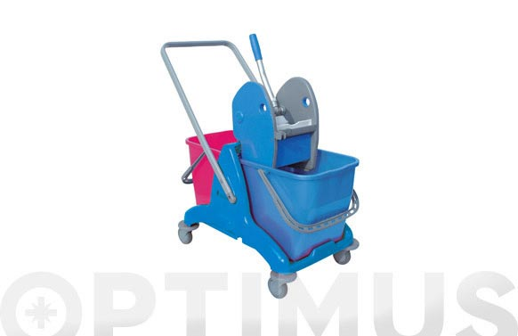 Carro 2 cubos con prensa azul 25 l