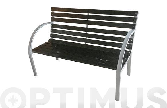 Banco jardin metálico y madera negro/plata