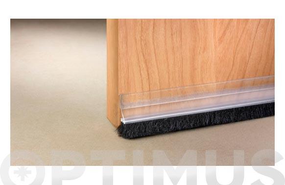 Burlete bajo puerta pvc/cepillo adhesivo 100 cm transparente