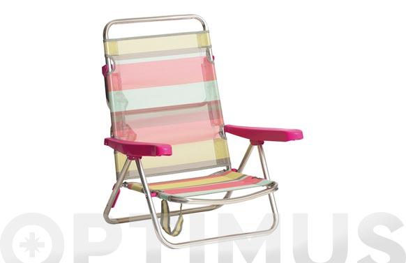 Silla cama aluminio playa fibreline rayas 1726