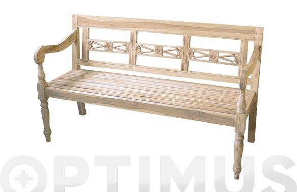 Banco jardin madera teca 3 plazas 152 x 63 x 89 cm