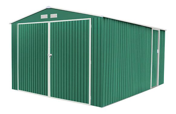 Garaje metalico norfolk verde 15.96m2 l380 x f420 x h232 cm
