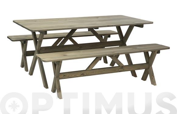 Mesa + 2 bancos madera fsc 117 x 71 x 71 cm