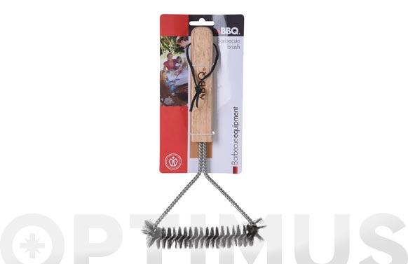 Cepillo barbacoa inoxidable 30 x 14 cm mango madera