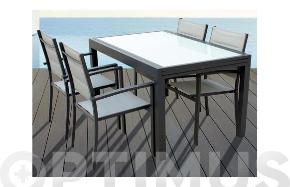 Sillon aluminio textilene acolchado gris practic