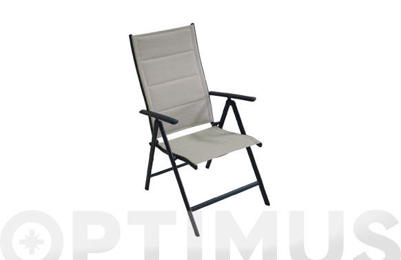 Sillon posicion aluminio textilene acolchado gris practic
