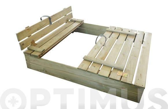 Arenero de madera con tapa y asientos zoé 116 x 110 cm