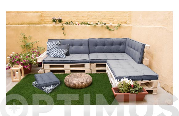 Cojin asiento para palet gris 120 x 80 x 10 cm