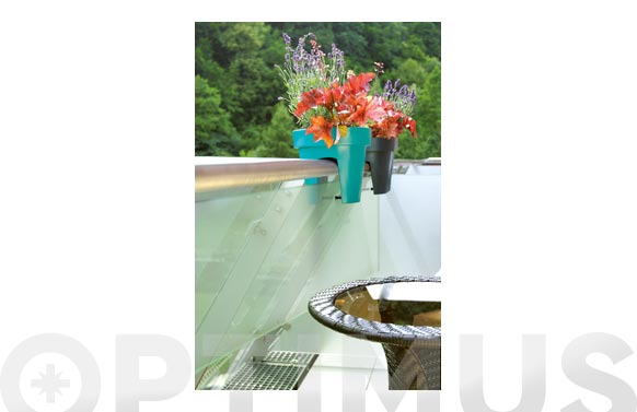 Jardinera redonda barandilla ø25 x 23 cm 5lt turquesa lofly railing