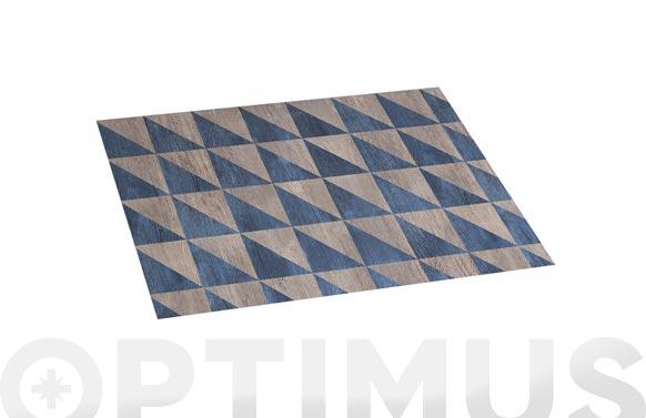 Alfombra vinilica croma 45x75 cm wood geom blue