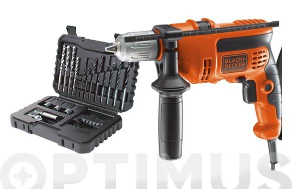 Taladro con cable percutor 710 w + 32 accesorios