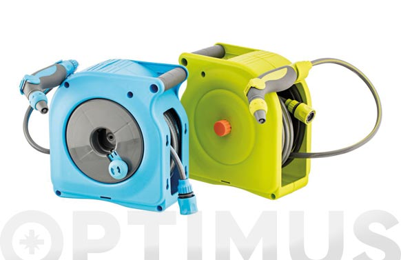 Enrollador mini manual azul con manguera 10 metros de manguera de ø 9 mm.