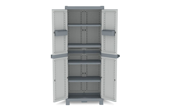 Armario resina con 4 estantes wave gris 181,8 x 70 x 43,8 cm
