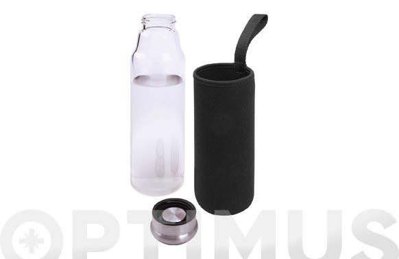 Botella vidrio con funda negra 550 ml