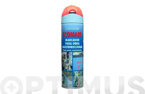 Marcador fluorescente spray ecomark rojo 500 ml