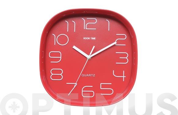 Reloj pared retro cuadrado rojo
