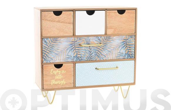 Joyero madera metal 6 cajones 25,5x14x30,5 cm