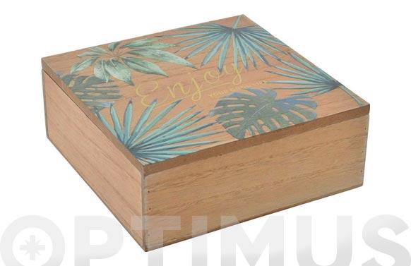 Caja madera tropical 18x18x7 cm