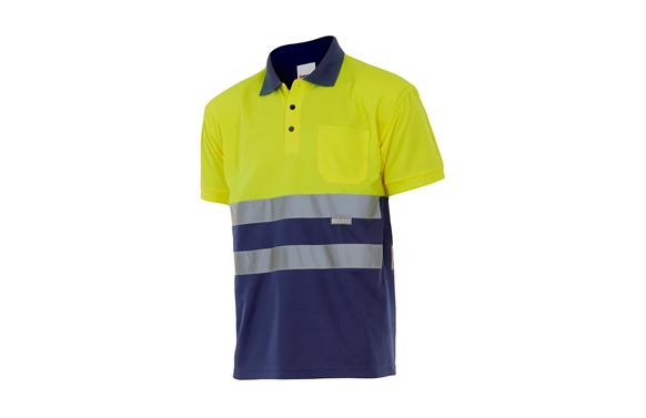 Polo bicolor alta visibilidad manga corta t m amarillo / marino