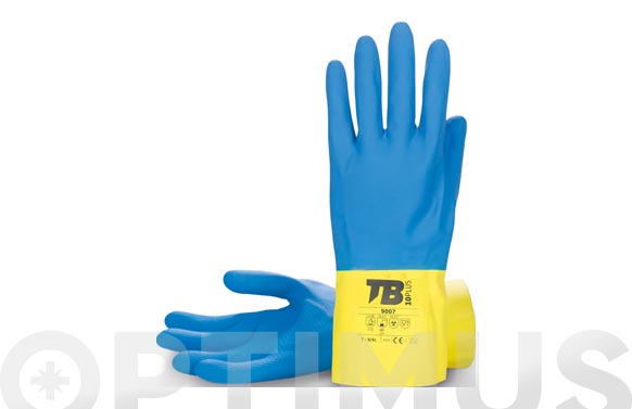 Guante latex natural bicolor azul/amarillo flocado t 10/xxl longitud: 30 cm, grosor: 0,60 mm