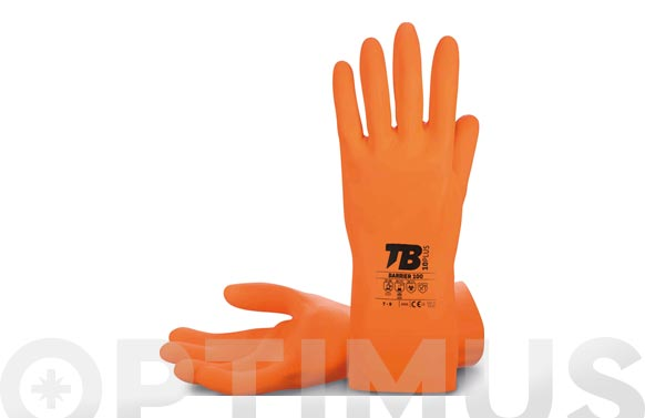 Guante latex natural naranja flocado t 10 longitud: 30 cm, grosor: 1 mm.